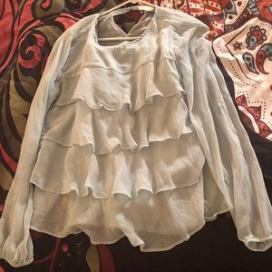 Ann Taylor LOFT Size L Blue Ruffled Shirt w/ Tank